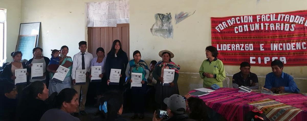Mujeres líderes de Pojo fueron acreditadas como facilitadoras comunitarias con énfasis en liderazgo e incidencia política para la igualdad género