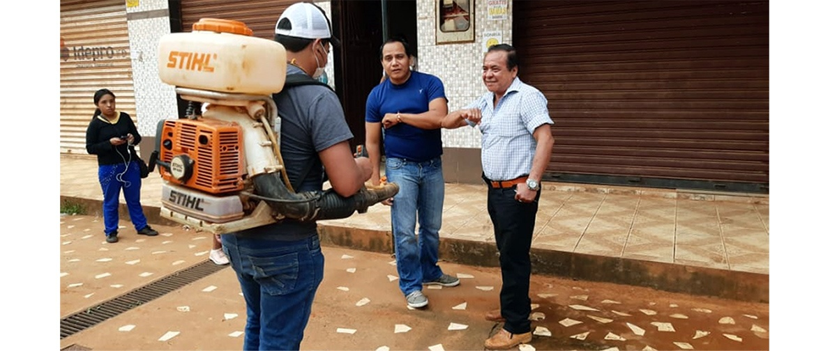 CIPCA Norte Amazónico apoya con moto fumigadoras para la desinfección en el municipio de Puerto Rico