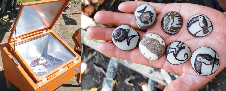 Mujeres tacanas usan cocinas solares para secar semillas y convertirlas en artesanía